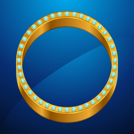 gold ring: Abstract background with gold ring and jewels  Illustration