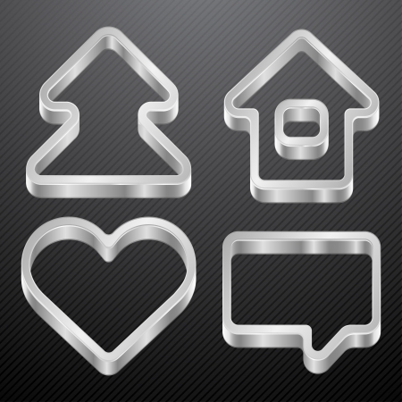 Silver icons of house, bubble, heart, tree  Vector