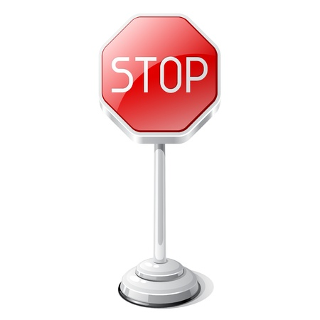 Stop road traffic sign isolated on white Stock Vector - 19352456