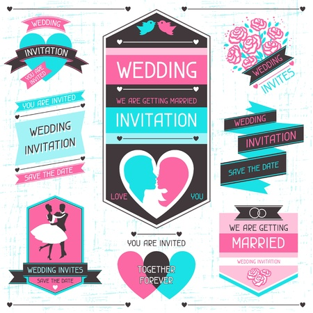 badge ribbon: Wedding invitation retro set of design elements