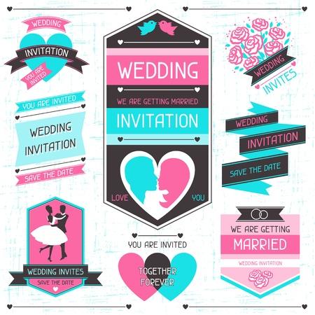 wedding band: Wedding invitation retro set of design elements