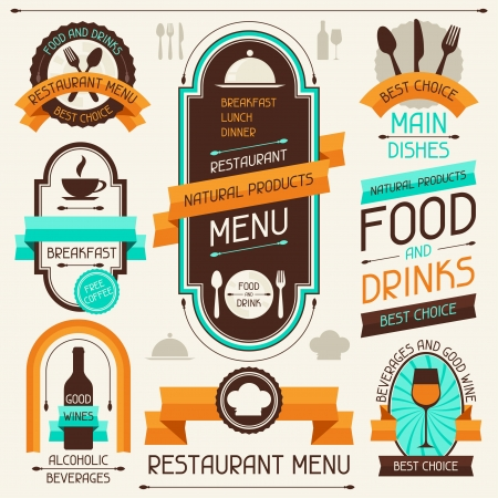 food label: Restaurant menu, banners and ribbons, design elements