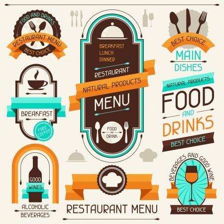 wijn en spijzen: Restaurant menu, banners en linten, design elementen Stock Illustratie