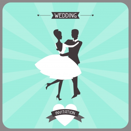 wedding couple: Wedding invitation retro card