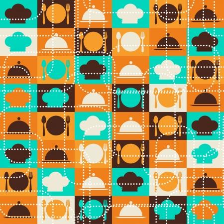 retro kitchen: Seamless retro kitchen pattern
