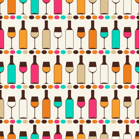 Seamless retro pattern with bottles of wine and glasses  Vector