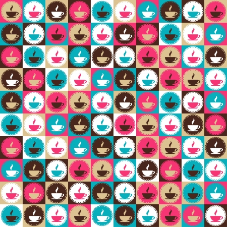 Seamless retro coffee and tea pattern  Vector
