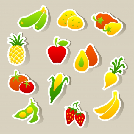 soy bean: Set of fruit and vegetables stickers