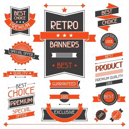 scrap trade: Retro banner Set di etichette e adesivi Vettoriali