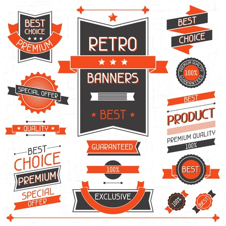 Retro banners  Set of labels and stickers  Stock Vector - 19458738