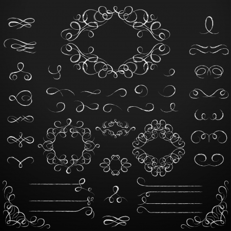 chalk board: Chalkboard set of calligraphic design elements