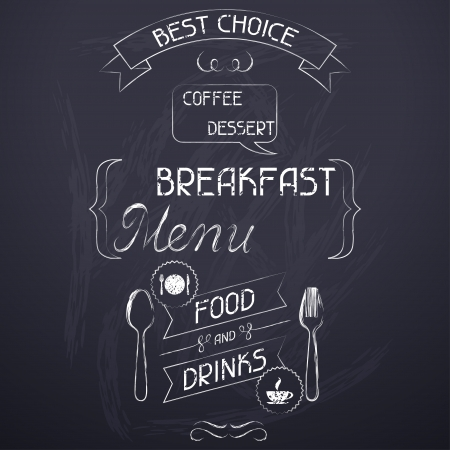 Breakfast on the restaurant menu chalkboard  Stock Vector - 19657301
