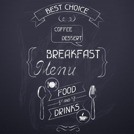 Breakfast on the restaurant menu chalkboard Stock Vector - 19657301