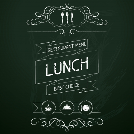 Lunch on the restaurant menu chalkboard  Stock Vector - 19657302
