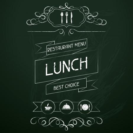 Lunch on the restaurant menu chalkboard Stock Vector - 19657302