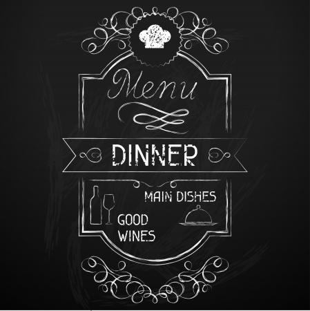 dessin craie: D�ner sur le restaurant menu tableau