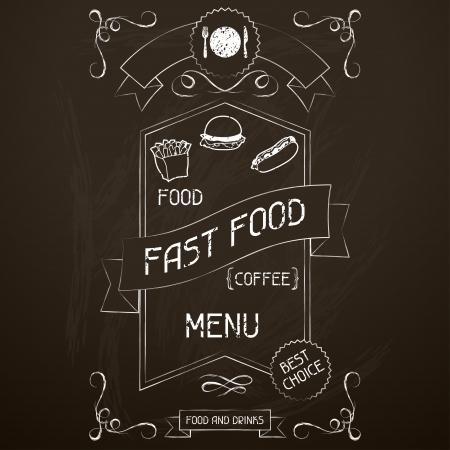 Fast food op het restaurant menu krijtbord