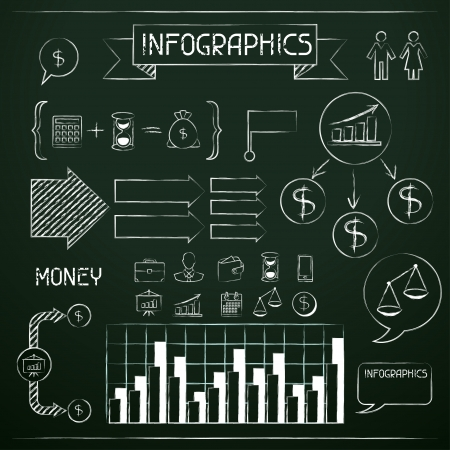 chalk board: Set of chalkboard infographics and business icons  Illustration