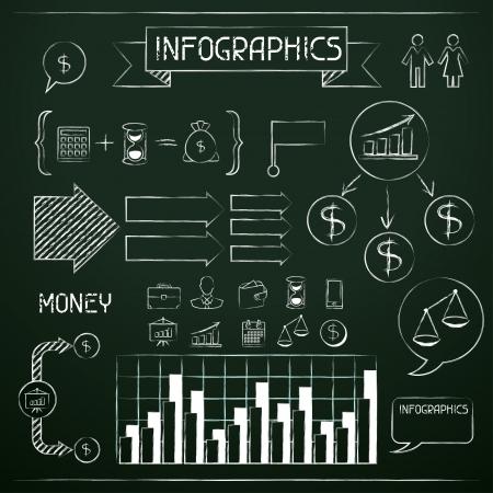 Set van krijtbord infographics en zakelijke iconen