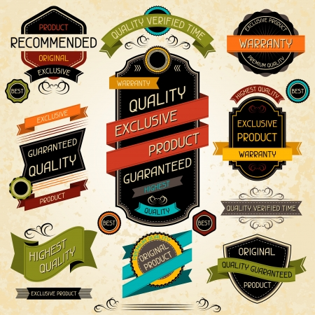 exclusive collection: Set of premium quality labels and stickers  Illustration