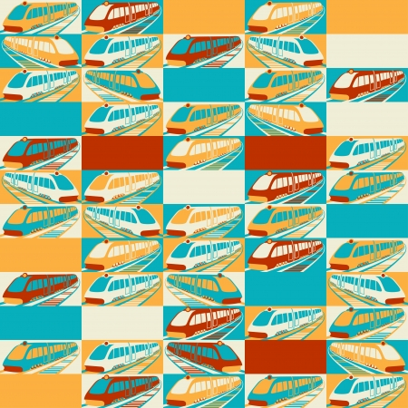 Retro seamless travel pattern of trains  Stock Vector - 19699285