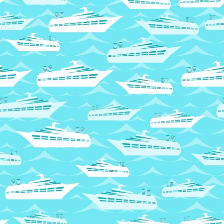 liners: Retro seamless travel pattern of cruise liners  Illustration