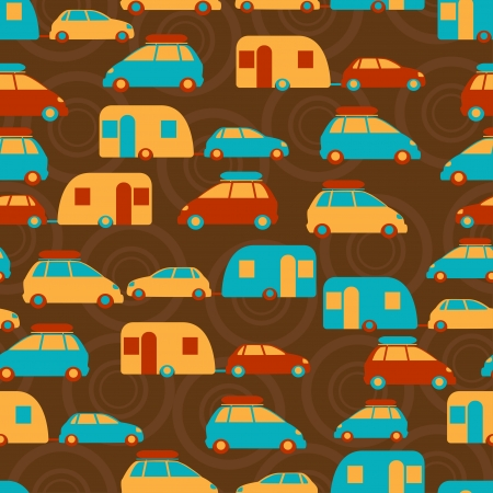Retro seamless travel pattern of cars Stock Vector - 19699264