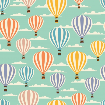 seamless sky: Retro seamless travel pattern of balloons