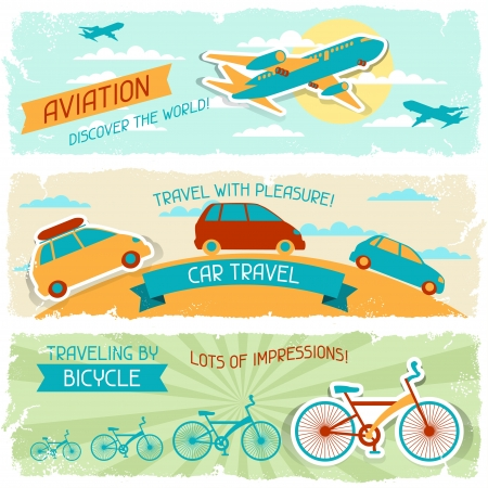 Set of horizontal travel banners in retro style Stock Vector - 19699273