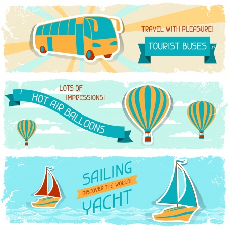 hot tour: Set of horizontal travel banners in retro style  Illustration