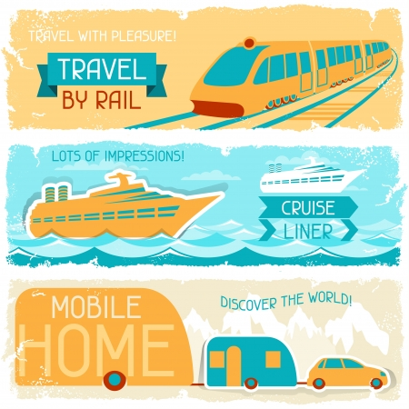 motor coach: Set of horizontal travel banners in retro style  Illustration