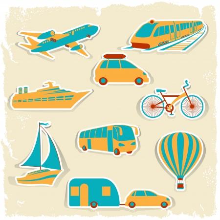 mobilhome: Ensemble des autocollants de transport touristique Illustration