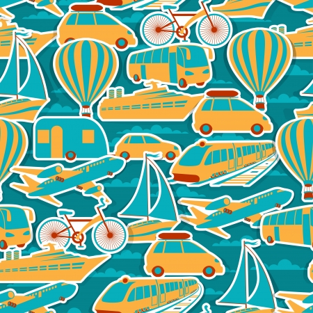 cruise travel: Retro seamless travel pattern  Illustration