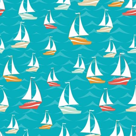 Retro seamless travel pattern of yacht
