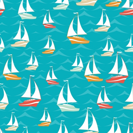nautical flags: Retro seamless travel pattern of yacht
