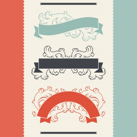 Vintage floral design elements and ribbons  Vector