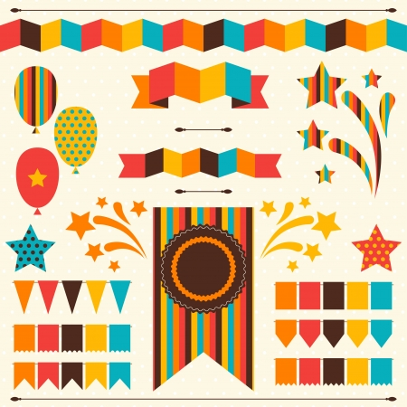 carnival border: Collection of decorative elements for holiday.