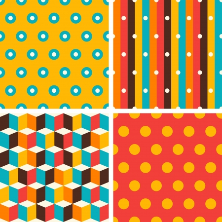 Seamless abstract retro geometric patterns set. Stock Vector - 20481876