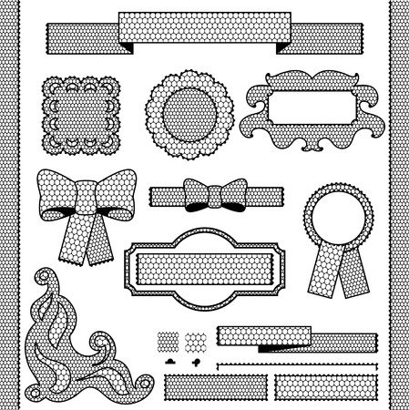 Decorative lace ribbon, bows and ornaments. Vector