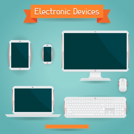 computer devices: Electronic devices - computer, laptop, tablet and phone.
