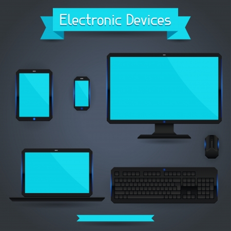 Electronic devices - computer, laptop, tablet and phone. Stock Vector - 20481893