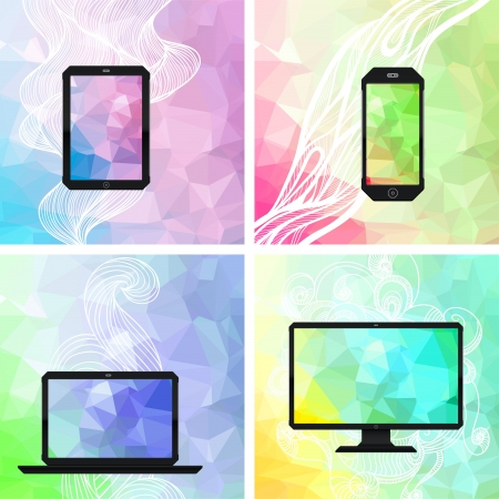 electronic devices: Electronic devices backgrounds. Illustration
