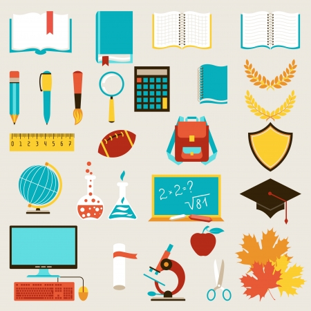 School and education icons set. Vector