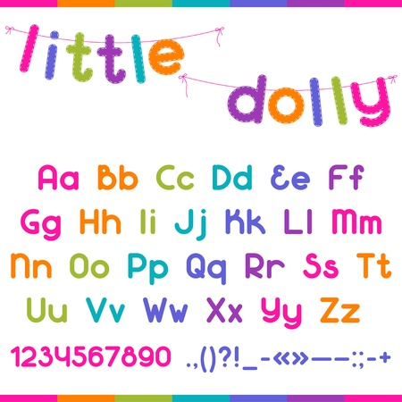 typeset: Little Dolly funny kid font.