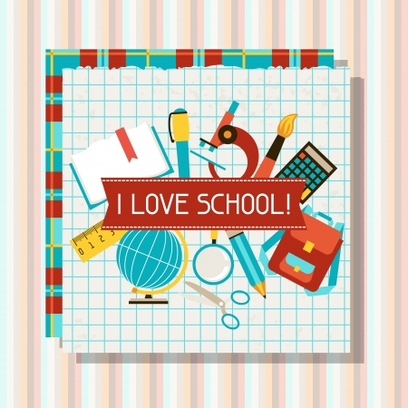 School and education background with sticky papers. Vector