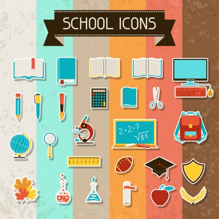 School and education sticker icons set. Vector