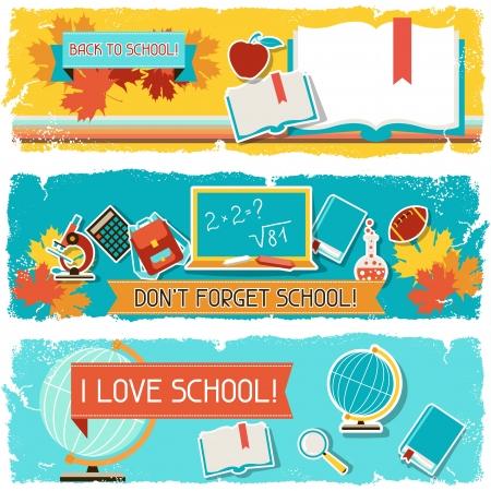 objetos escolares: Banners horizontales con una ilustraci�n de objetos de la escuela.
