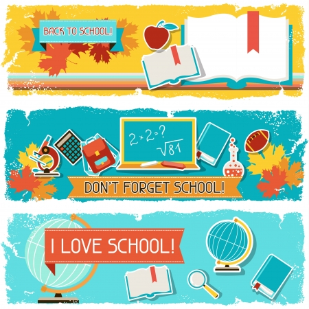 Horizontal banners with an illustration of school objects. Vector