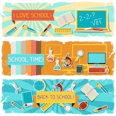 objetos escolares: Banners horizontales con una ilustraci?n de objetos de la escuela.