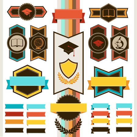 School education badges and ribbons. Stock Vector - 20503121